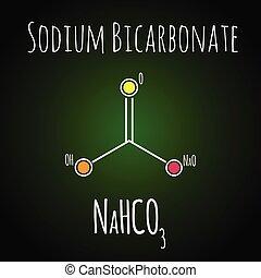 structure., backen, natrium, skelettartig, bicarbonate, chemische , soda, formula., oder