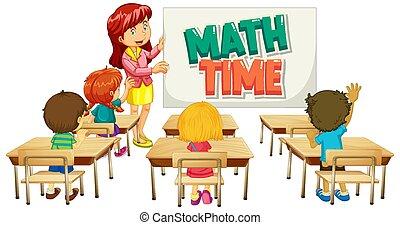 studenten, klassenzimmer, zeit, mathe, design, lehrer, schriftart, wort