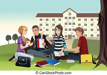 Studenten lernen draußen.