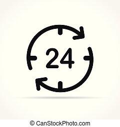 stunden, vier, zwanzig, ikone, begriff
