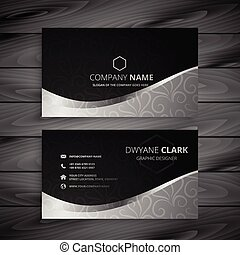 Stylish Black and Gray Wave Business Card Design.