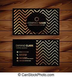 Stylish schwarz und gold zigzag formt Visitenkartendesign.