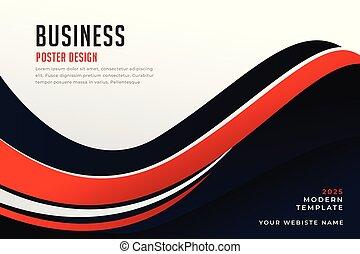 Stylish Wavy Red und Black Business Banner Design.