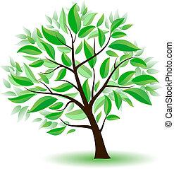 Stylisierter Baum mit grünen Blättern.