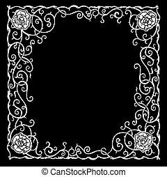 Stylisiertes Muster mit schwarzen Rosen und Kurven.
