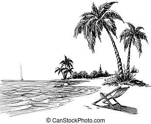 Summer Beach Bleistiftzeichnung.