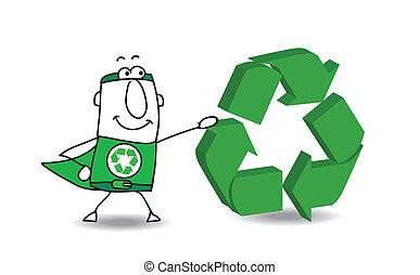 Super Hero mit einem Recycling-Zeichen