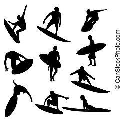 Surfer-Silhouettes-Sammlung