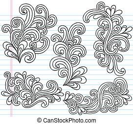 Swirly Doodles Vektor Set