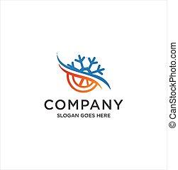 symbol., alles, schneeflocke, kühlung, kalte , jahreszeit, firma, heiß, logo, begriff, logo., design, sonne