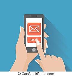 symbol, e-mail, telefon, berührende hand, schirm, klug