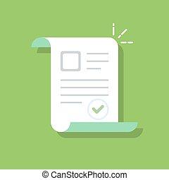 Symbol für Dokumente. Bestätigt oder genehmigt. Flat Illustration isoliert auf Farbhintergrund.