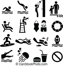 symbol, meer, schwimmender, sandstrand, teich, ikone