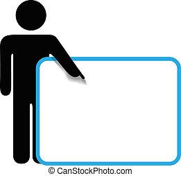 Symbol-Person-Stick-Figur zeigt Fingerzeichen Kopierraum.