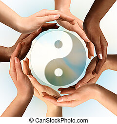 symbol, yin, multirassisch, umgeben, yang, hände