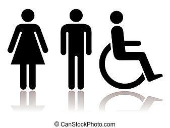 symbole, toilette, behinderten