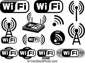 symbole, wi-fi, vektor, sammlung