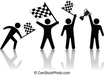 Symbolische Leute winken mit gepriesener Flagge, halten Sie die Siegestrophäe