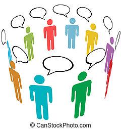 Symbolische Leute zeichnen soziale Medien-Netzwerke-Gespräche