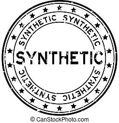 synthetisch, grunge, briefmarke, gummi, schwarzer hintergrund, siegel, wort, weißes, runder