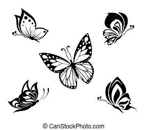 Tätowiere schwarze und weiße Schmetterlinge.