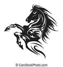 t�towierung, pferd, emblem, symbol, freigestellt, oder, design, logo, weißes, template.