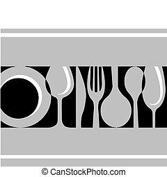 tableware:fork, , messer, platte, grau, glas