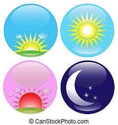 Tag und Nacht Ikonen bereit