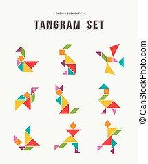 Tangram setzt kreative Kunst farbiger Tierformen