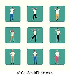 tanzende menschen, satz, bunte, spaß haben, design