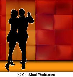 tanzsaal, paar, tänzer, tragen, rumba, hintergrund, abbildung, amerikanische , vektor, latein, tanz, heraus