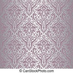 tapete, silber, weinlese, &, rosa