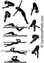 tauchen, silhouetten, schwimmender, weibliche , &