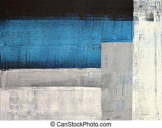Teal und graues, abstraktes Kunstmal.