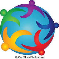 Team-Leute auf dem Welt-Logo