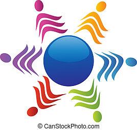 Team rund um das Welt-Logo