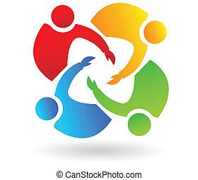 Teamwork 4 Leute helfen Logo.