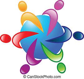 Teamwork 6 um den Welt-Logovektor
