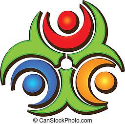 Teamwork drei glückliche Menschen Logo