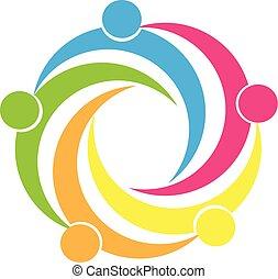 Teamwork Einheit Menschen Logo.