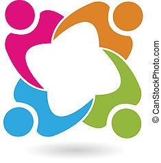 Teamwork Gewerkschaft 4 Leute Logo Vektor.