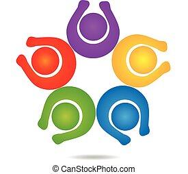 Teamwork glückliche Menschen Logo Design Template Icon Vektor.