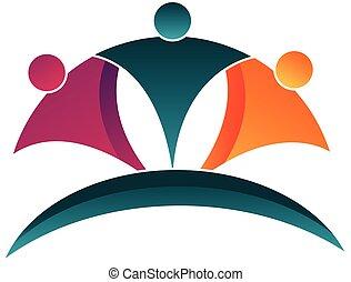 Teamwork glückliche Menschen Logo.
