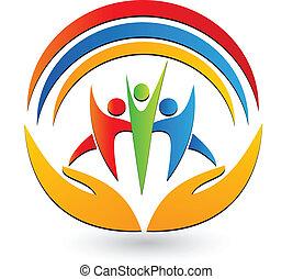 Teamwork-Hände und Verbindungs-Logo