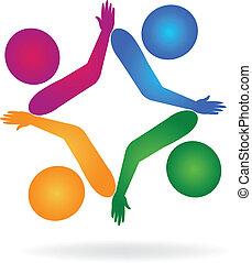 Teamwork Hand-Anschlüsse Logo.