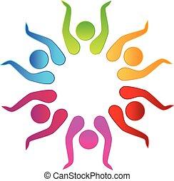 Teamwork hat den Logo-Vektor.