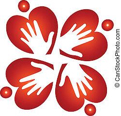 Teamwork-Herzen und Hände-Logo