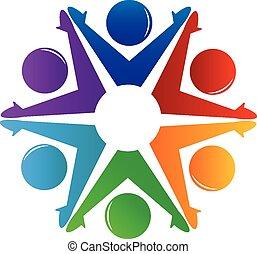 Teamwork-Leute mit Handzeichen.