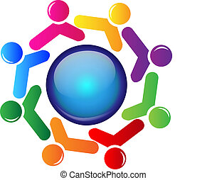 Teamwork-Leute um das Welt-Logo