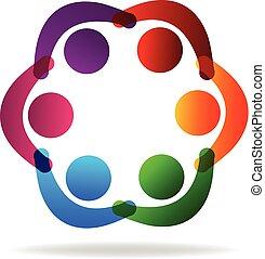 Teamwork mit den Händen Leute Logo.